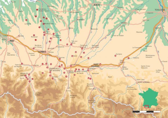 Carte des sites présentés
